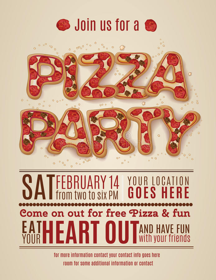 Pizza Party Invitation Template Stock Vector - Illustration of ...