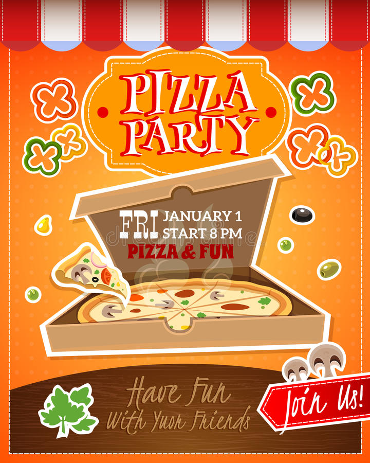 pizza party poster stock vector illustration of fast 67285859. Black Bedroom Furniture Sets. Home Design Ideas