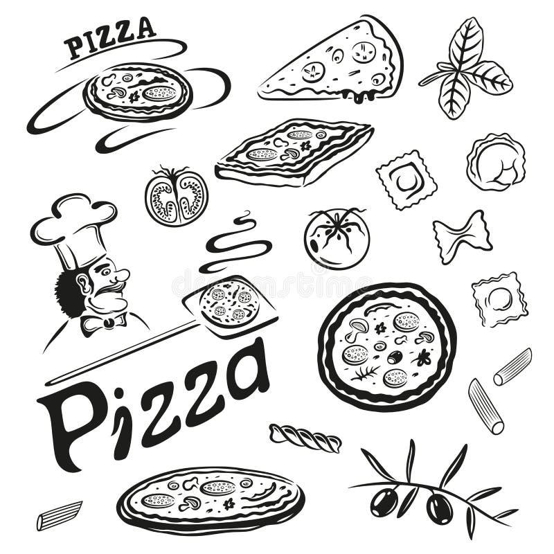 Pizza, pastas stock de ilustración