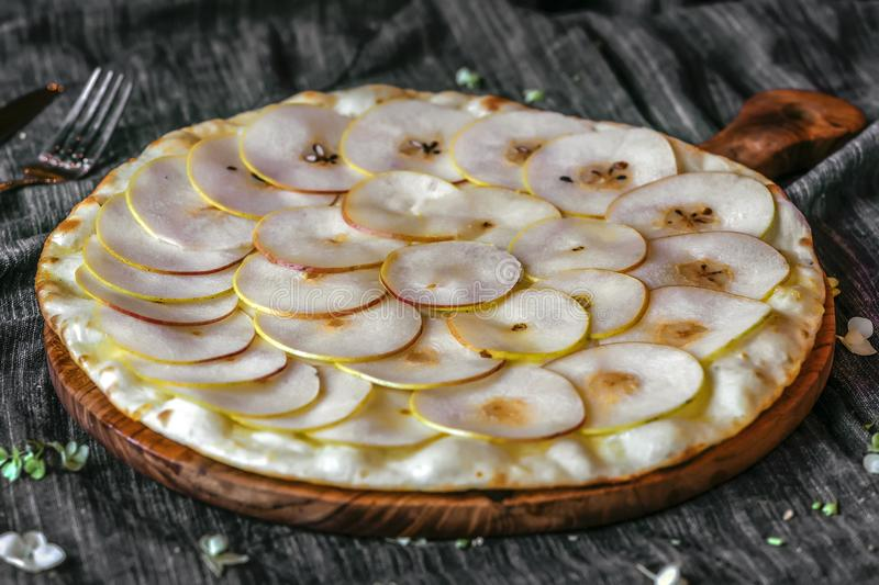 Pizza pear toppings stock images