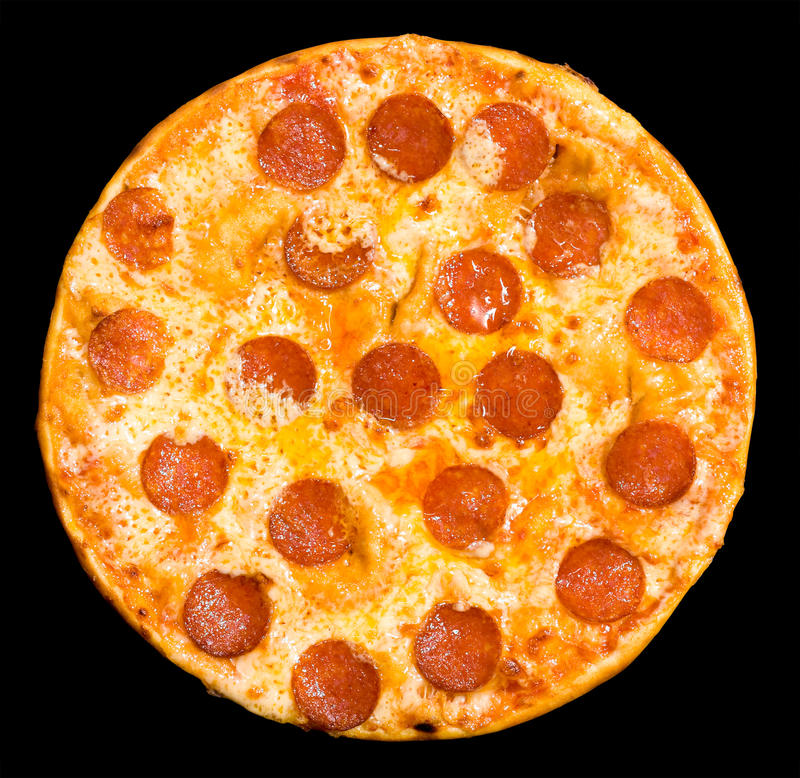 Pizza with peperoni, clipping path royalty free stock images