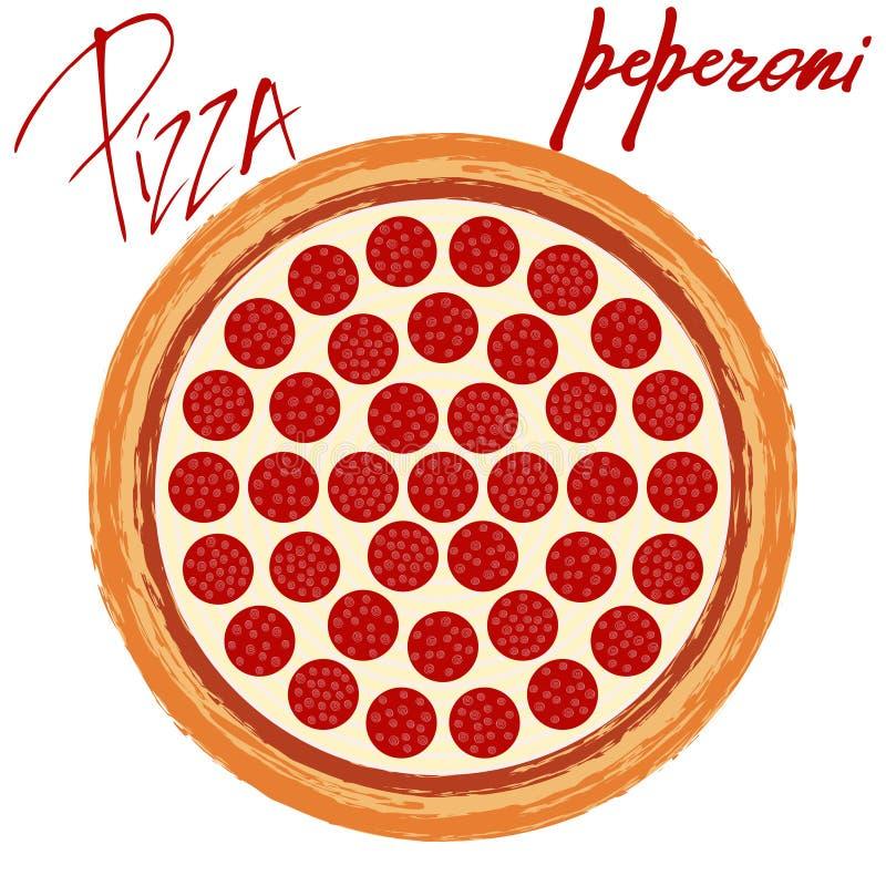 Pizza peperoni on white background. Pizza peperoni image on white background with handwritten caption. Vector illustration eps 10 royalty free illustration