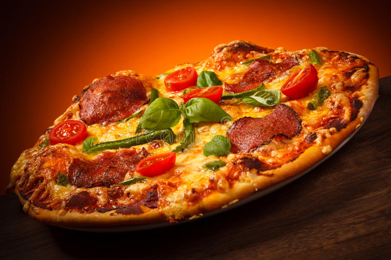 Pizza. Pepperoni - cheese, salami, vegetables