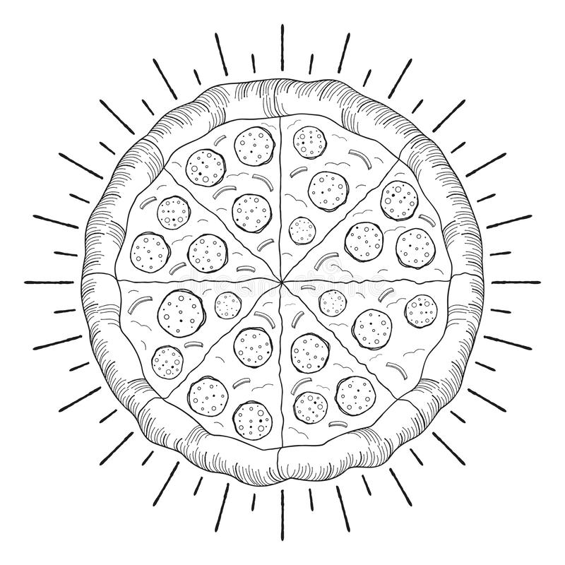 Pizza pepperoni, onion - black and white illustration/ drawing vector illustration