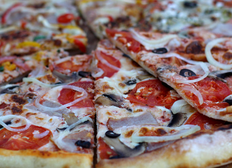 Pizza with Pepperoni Sausagemato sauce and vegetables royalty free stock images