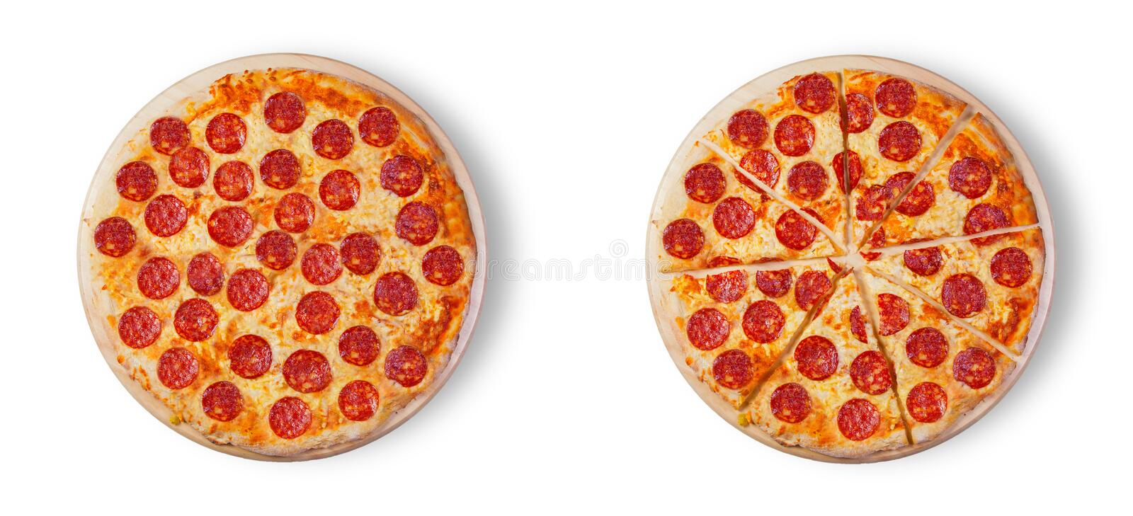 Pizza pepperoni on the white background. vector illustration