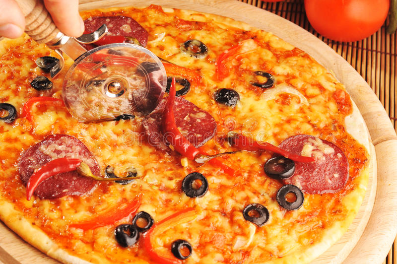 Pizza with peppers stock photography
