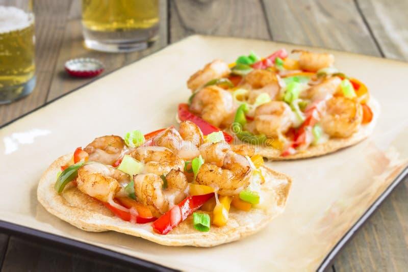 Pizza piccante del gamberetto fotografie stock