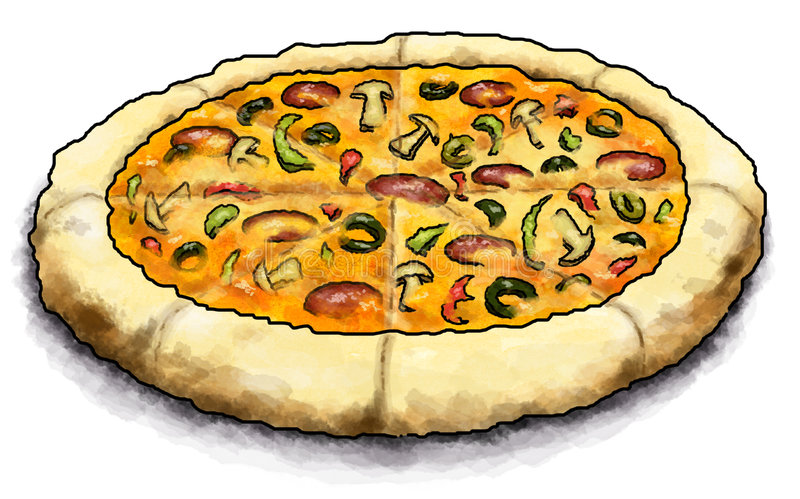 Pizza Pie. Cartoon illustration of a sliced pizza pie with several toppings stock illustration