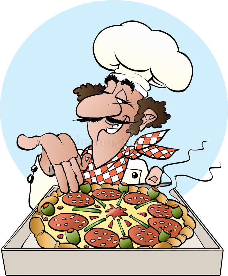 Pizza piekarz ilustracji