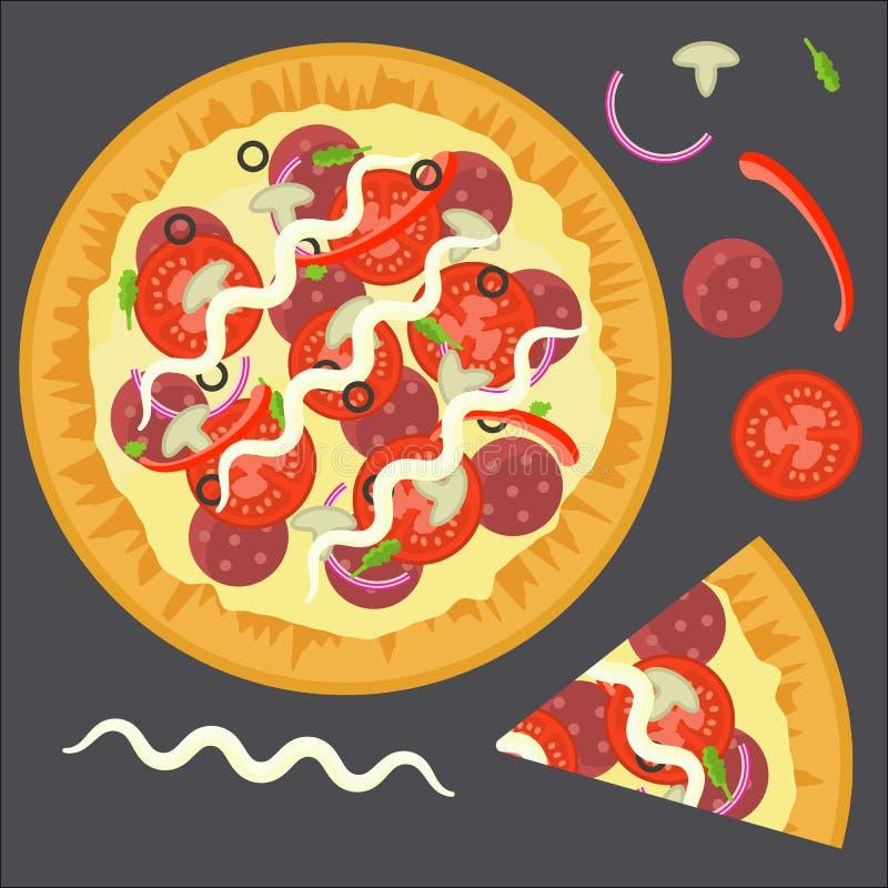 Pizza piena variopinta deliziosa piana con la fetta del triangolo e gli ingredienti salame, funghi, pomodoro, pepe illustrazione vettoriale