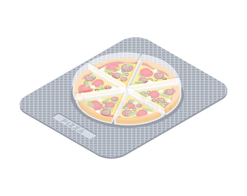Pizza pills in pack. Fast food vitamins. Tablets box. Medicament Fastfood. Medical drugs.  stock illustration