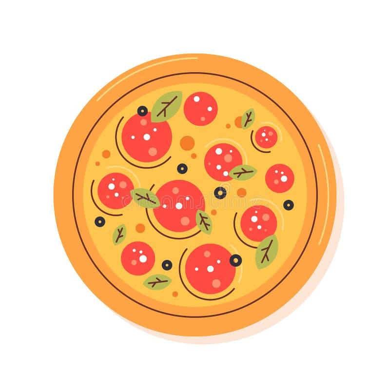 Pizza. Flat design illustration. Menu design. Trandy colors.  logo. Restaurant outfit.  Margharita stock illustration