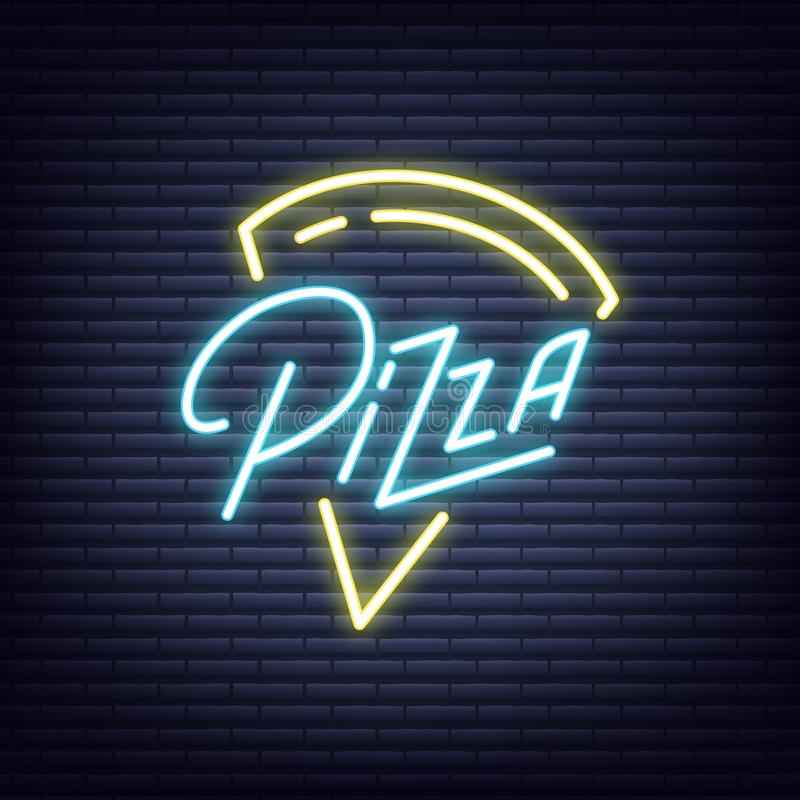 Pizza. Pizza neon sign. Neon glowing signboard banner design.  royalty free illustration