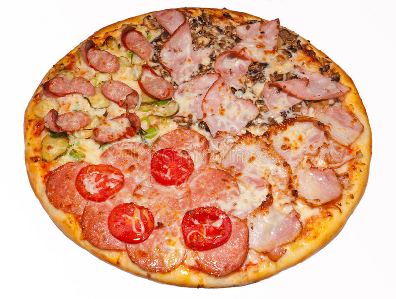 Pizza, pizzas, for the menu. Tasty and healthy food, Italian food, pepper, parma ham, tomato, ketchup, pineapple, mussels, olives, a large pizza, a visual menu stock image
