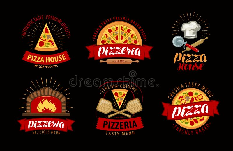 Pizza, pizzeria logo or label. Elements for menu design restaurant or cafe royalty free illustration