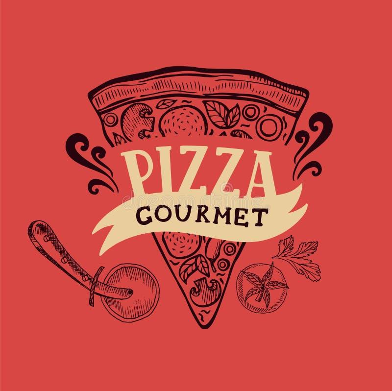 Pizza plakat dla restauraci i kawiarni ilustracji