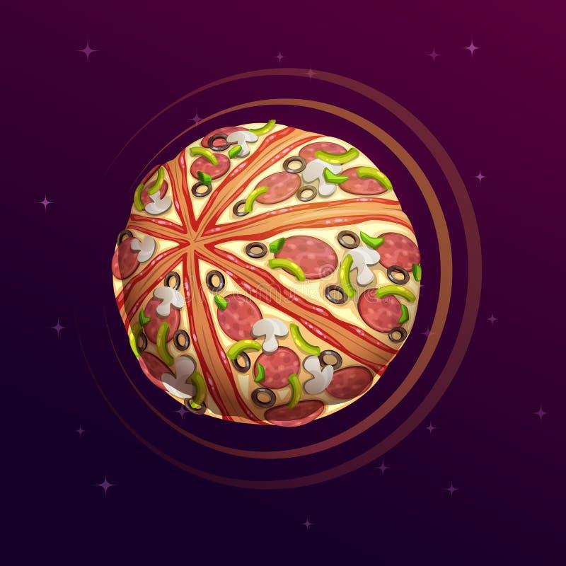 Pizza planet. Fantasy space illustration. Food galaxy concept art vector illustration