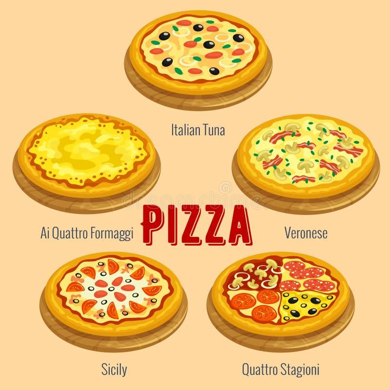 Pizza Plaquette italienne de carte de menu de cuisine illustration de vecteur