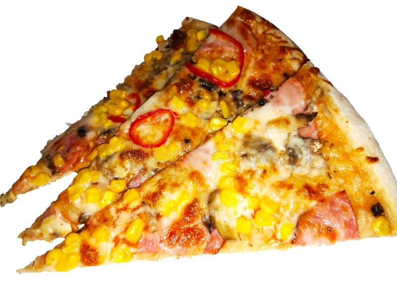 Pizza plasterek na białym tle obrazy stock