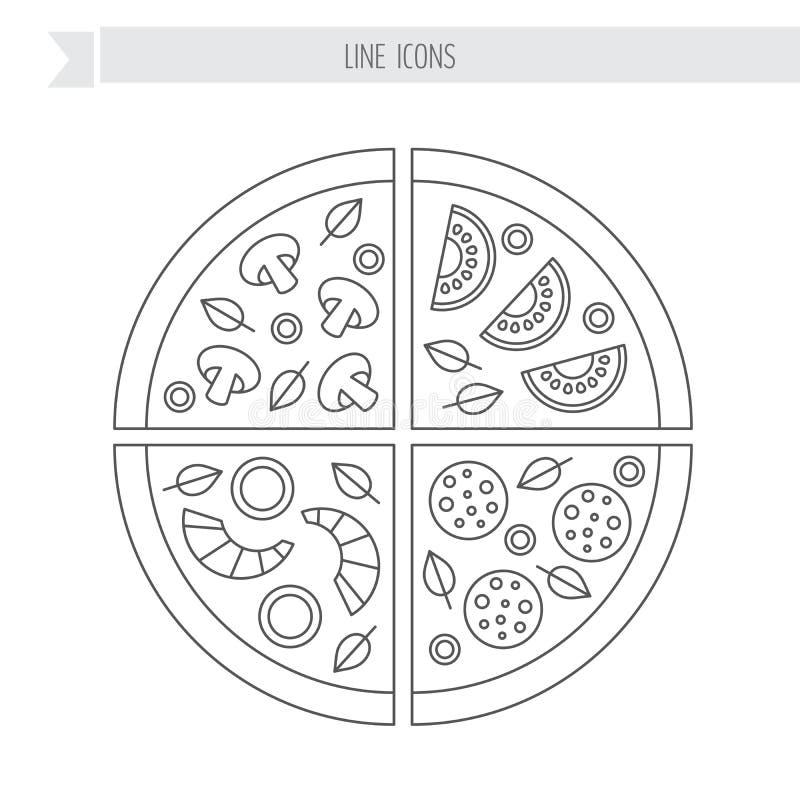 Pizza plasterek Pepperoni rozrastają się owoce morza jarosza również zwrócić corel ilustracji wektora ilustracja wektor