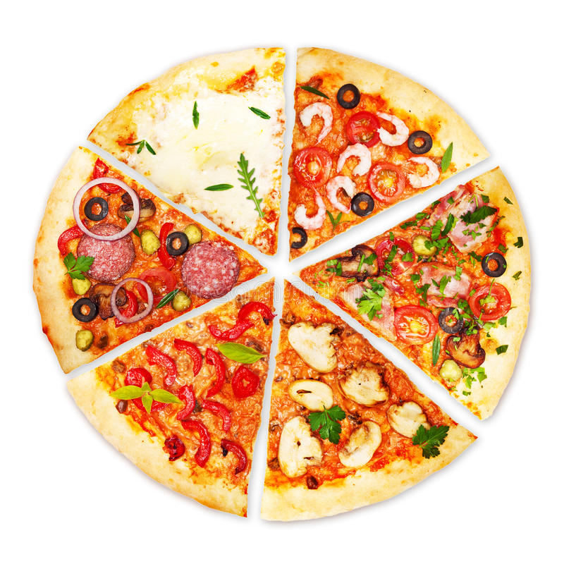 Pizza plasterek z różnymi polewami obrazy royalty free