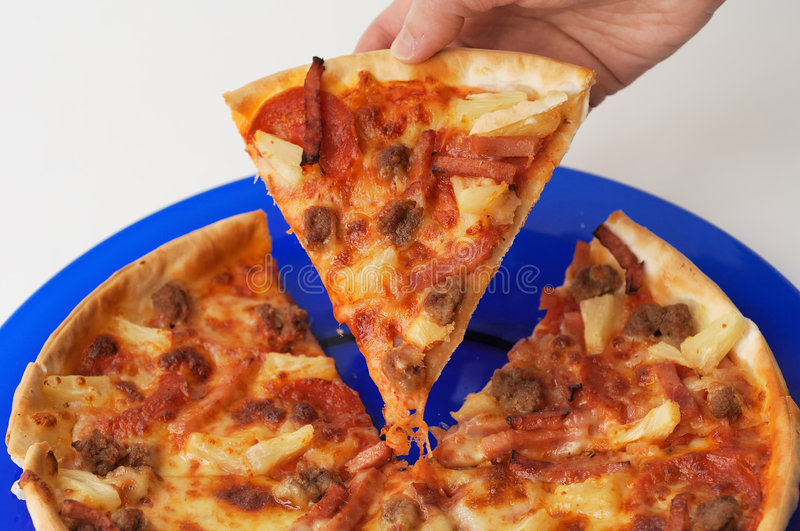 Pizza on a plate stock image