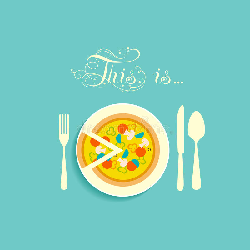 Pizza on a plate. Cutlery in a flat style. Icon for menu in a restaurant. Pizza with cut a small piece lies on a plate stock illustration