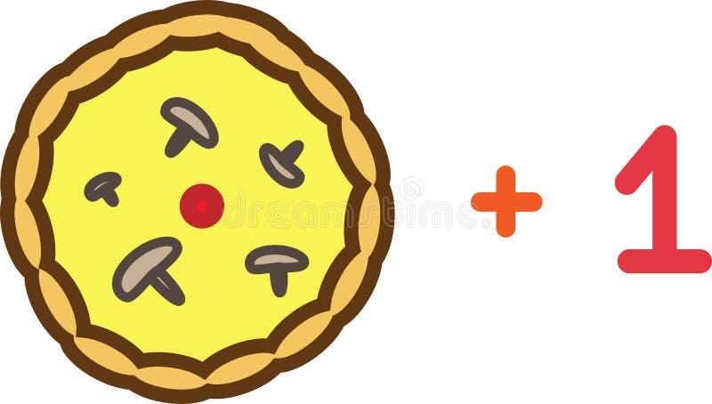 Pizza plus en kulör symbol med tomater, ost och champinjoner stock illustrationer