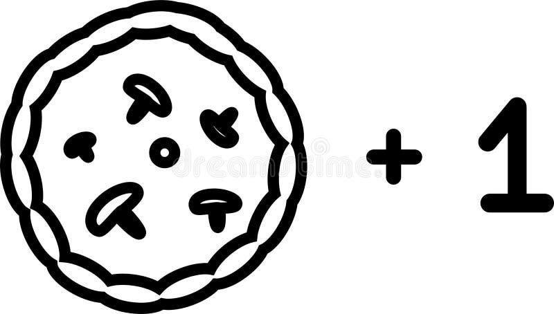 Pizza plus en symbol med tomater, ost och champinjoner stock illustrationer