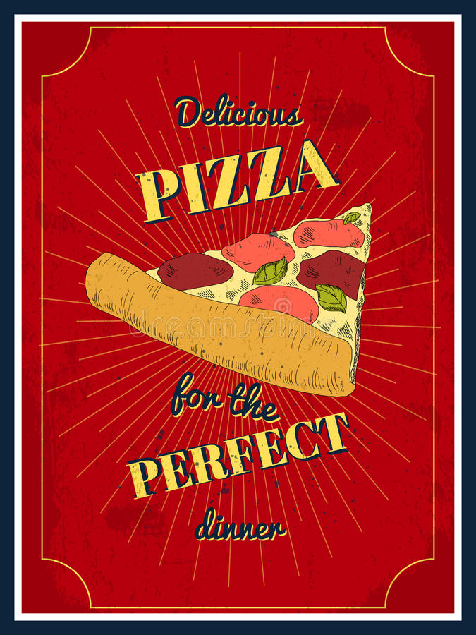 Pizza poster royalty free illustration