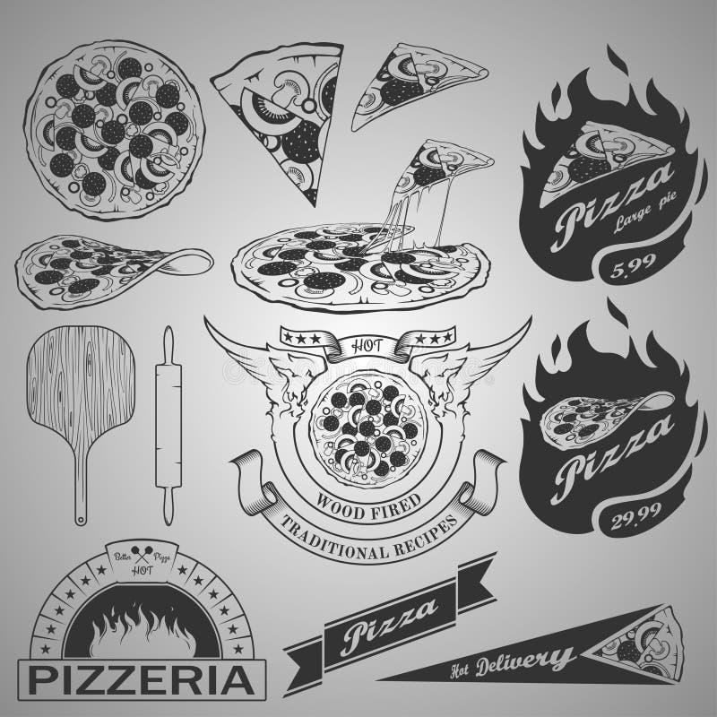 Pizza projekta elementy royalty ilustracja