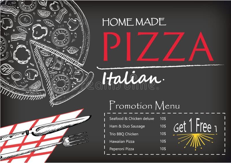 Pizza projekta menu broszurki doodle stylu Włoski karmowy szablon zdjęcie royalty free