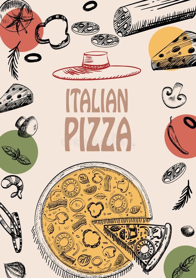 Pizza projekta menu broszurki doodle stylu Włoski karmowy szablon obrazy royalty free