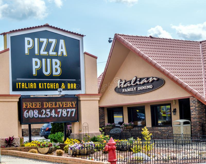 Pizza Pub - Wisconsin Dells. The Pizza Pub Italian Kitchen and Bar - Family Dining Restaurant in the Wisconsin Dells.  Daily, delicious, all you can eat lunch royalty free stock image