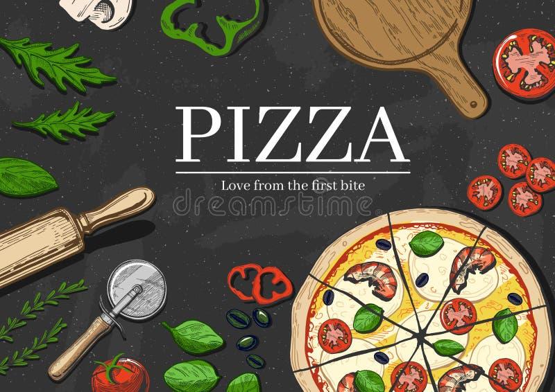 Pizza que cocina el fondo libre illustration