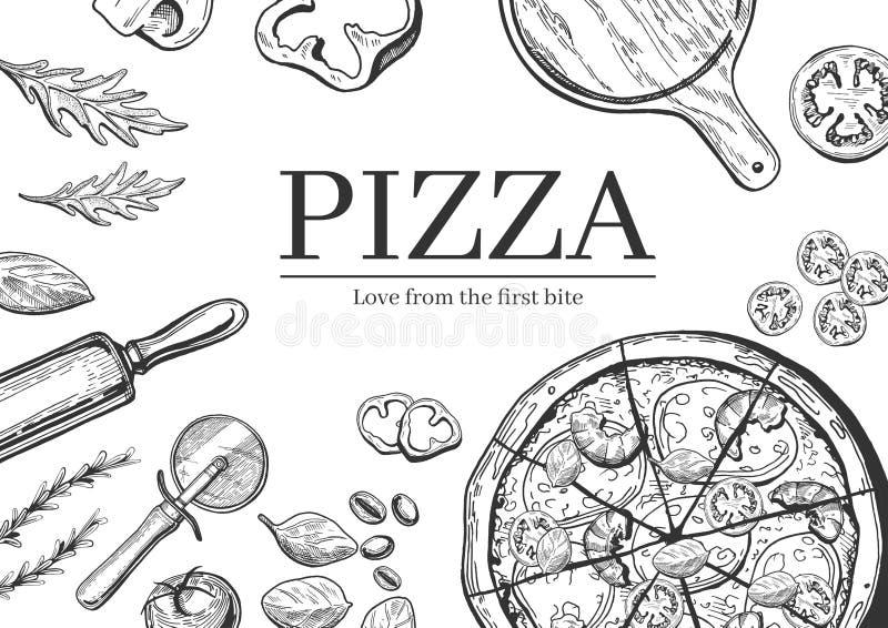 Pizza que cocina el fondo stock de ilustración