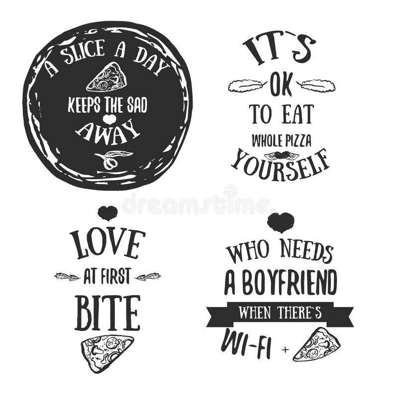 Pizza quote typographical set. Vector illustration of pizza in hand drawn cartoon style. Can be used for poster. Wrapping, banners. site background vector illustration