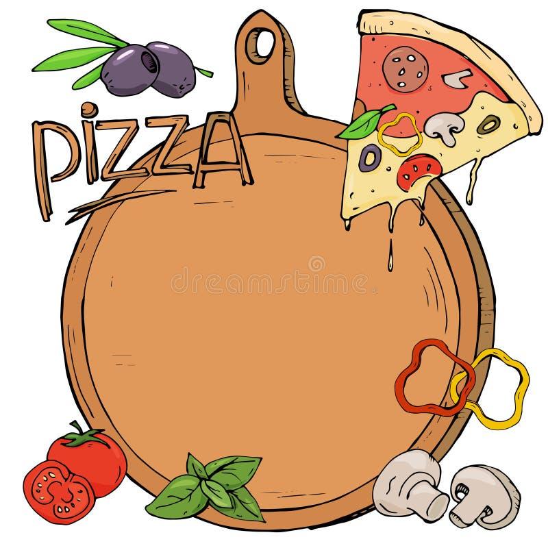 Pizza, Raad en ingrediënten op witte achtergrond Model royalty-vrije illustratie