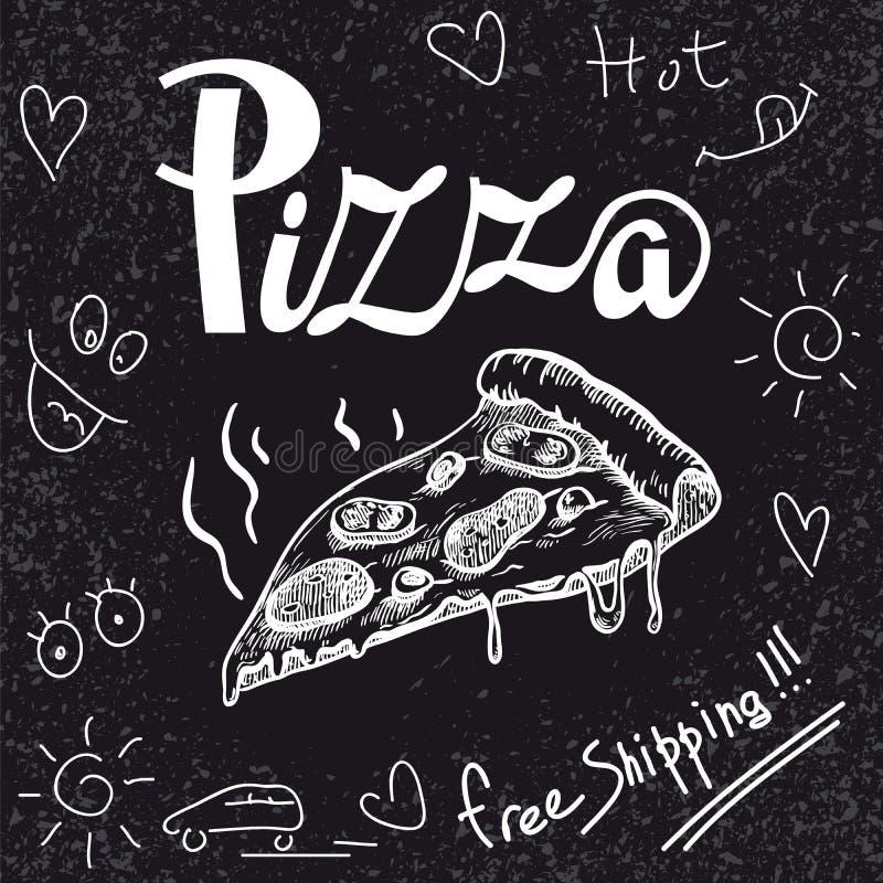 Pizza recién preparada fragante del pedazo libre illustration