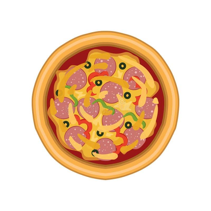 Pizza recientemente cocida con el salami, la pimienta y las aceitunas, ejemplo del vector de la visión superior en un fondo blanc libre illustration