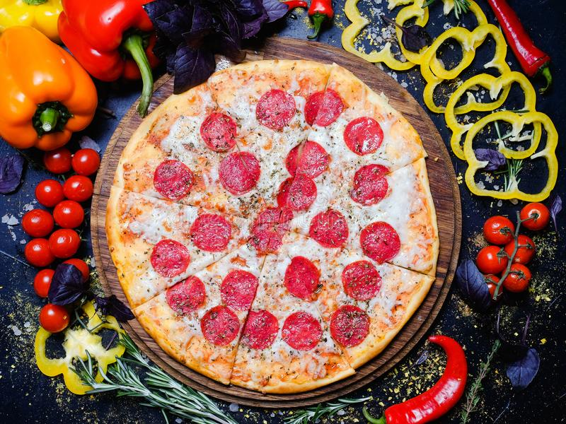 Pizza recipe organic ingredients italian food stock photo