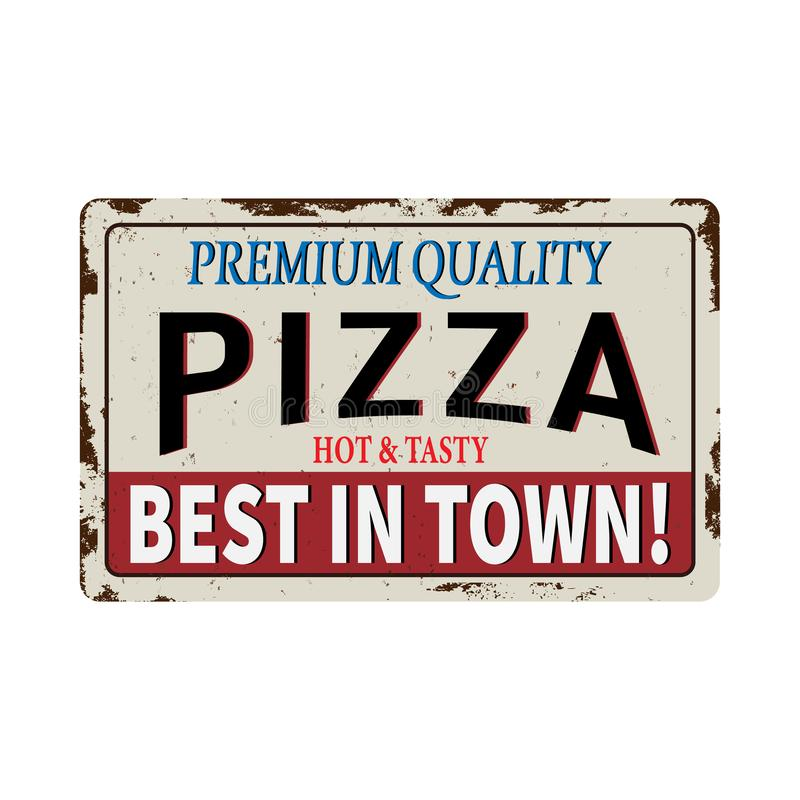 Pizza red vintage rusty metal sign on a white background, vector illustration stock illustration