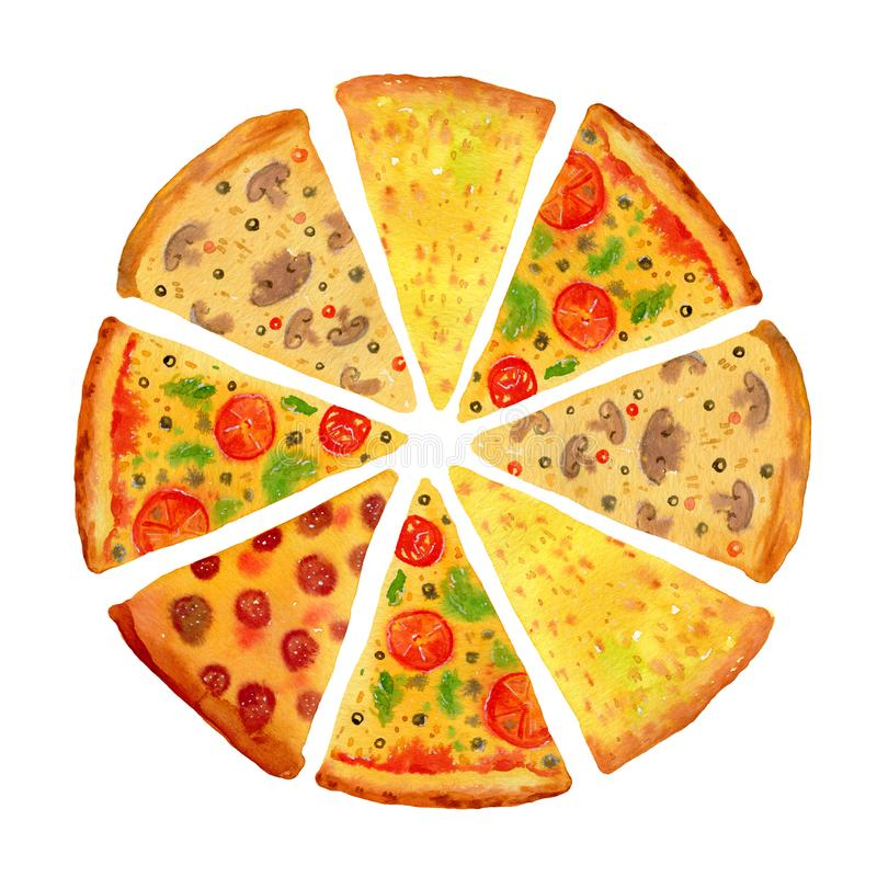 Pizza redonda com fatias sortidos A mão tirada estilizou a aquarela ajustada para cartazes e cartões imagem de stock royalty free