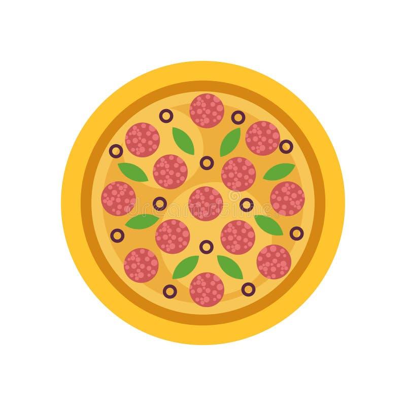 Pizza redonda con los salchichones, las aceitunas y las hojas verdes de la albahaca Cocina italiana tradicional Elemento plano ai stock de ilustración
