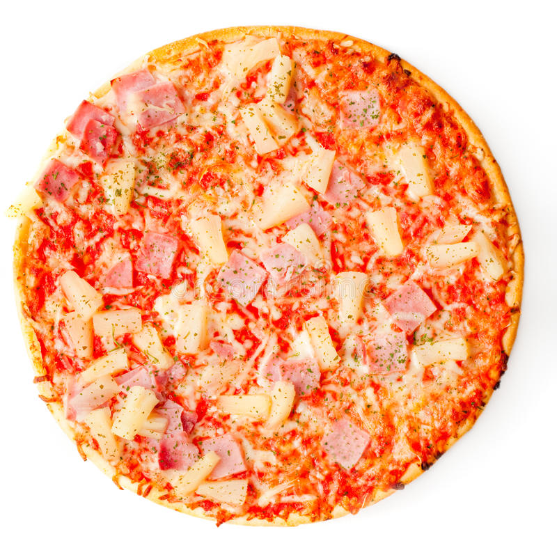 Pizza redonda fresca isolada imagem de stock