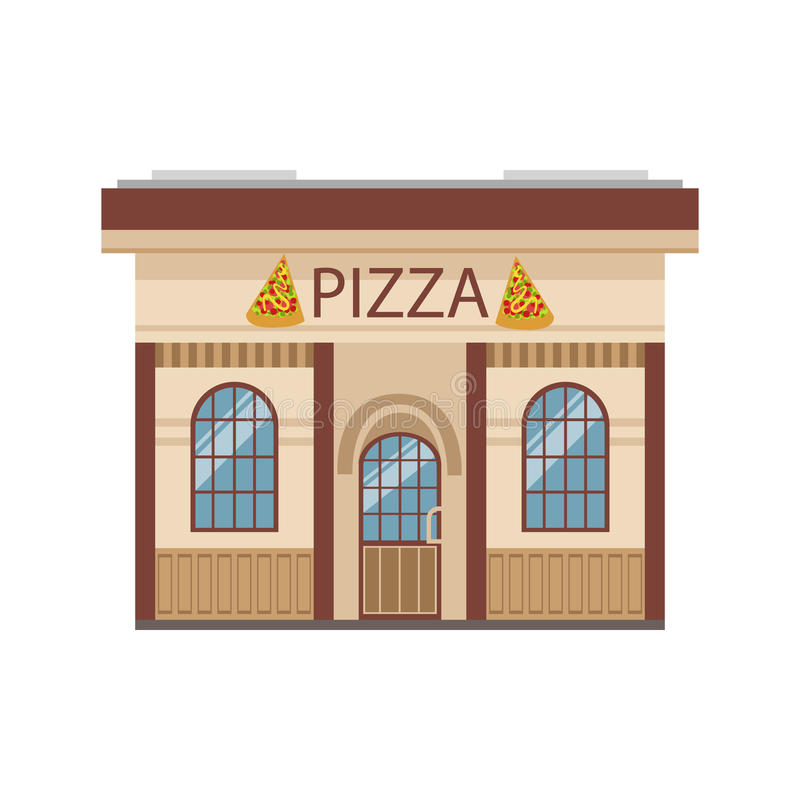 Pizza restaurant commercial building facade design stock