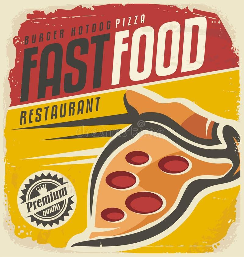 Pizza retro znak royalty ilustracja