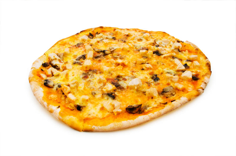 Pizza ronde d'isolement photo stock