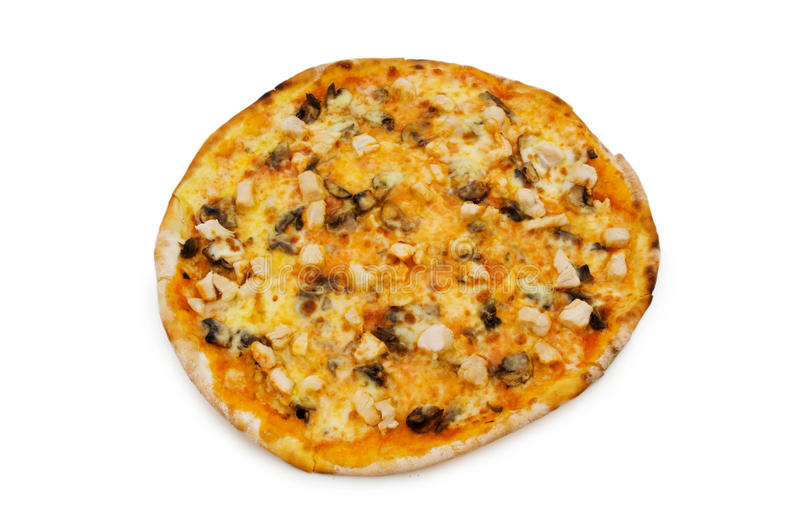 Pizza ronde d'isolement images stock